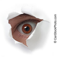 Eye peering out hole in sheet of paper on the white background