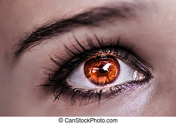 Red Eye Makeup. Beautiful Eyes Make-up. Macro