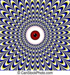 Red Eye (motion illusion) - A pattern of waves is drawn ...
