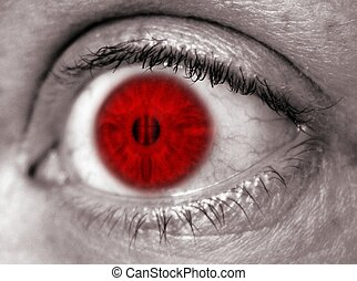 Red EYE - Red eye against black and white skin