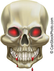 An illustration of a skull with red eyes, representing death or danger.