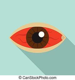 Red eye zika virus icon, flat style