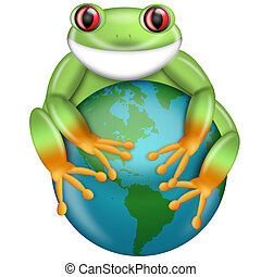 Red-Eyed Green Tree Frog Hugging Planet Earth Globe...