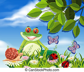 Red eyed tree frog in nature illustration