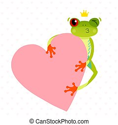 Red eyed tree frog with a heart. Cute animal. Isolated on white background. Valentine day concept. Cartoon vector.