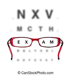 red eyeglasses and eyechart on white background