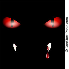 in a darkness are two mysterious red eyes and teeth with red drops