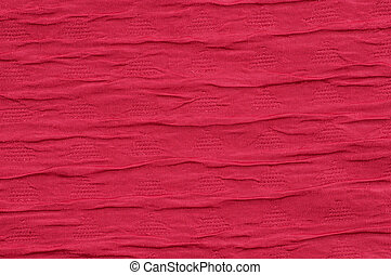Red fabric background wave like close-up