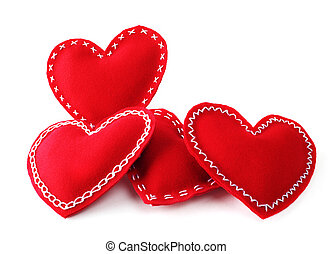 Valentines day hearts - Red fabric handmade Valentines day...