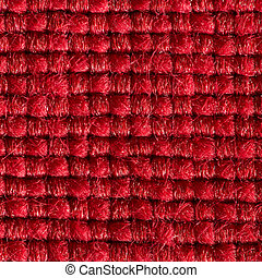 Red fabric with structured and knitted fibres extreme close up. 1:3