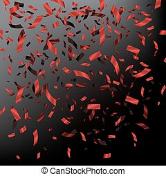 Red falling confetti on dark background. Vector holiday illustration.
