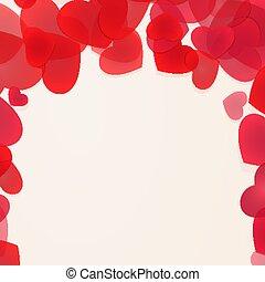 Red falling hearts framing