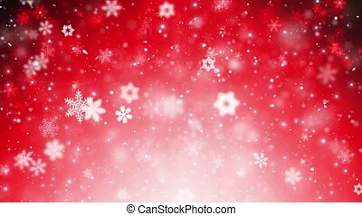Red Falling Snowflakes Background. Loopable And With Alpha Matte.