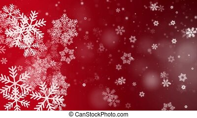 Red Falling snowflakes Snow stars Dust Particles Bokeh Lights loop Background Animation .