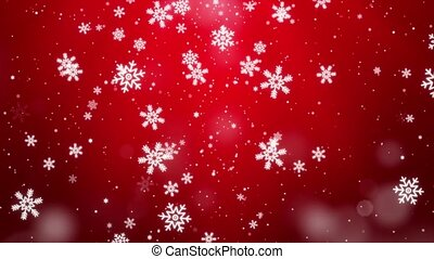 Red Falling snowflakes Snow stars Dust Particles Bokeh ...