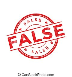 Red False rubber stamp on white background.
