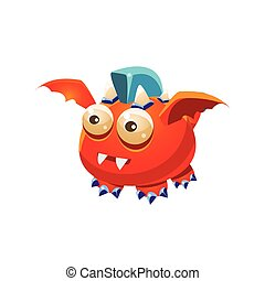 Red Fantastic Friendly Pet Dragon With Blue Mohawk Fantasy Imaginary Monster Collection