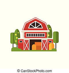 Red farm barn building, countryside construction vector Illustrations on a white background