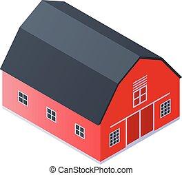 Red farm barn icon, isometric style
