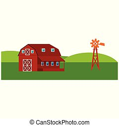Red farm barn with windmill - countryside landscape with green hills and fields.