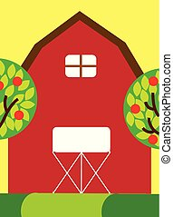 red farm barn wooden building and trees fruits