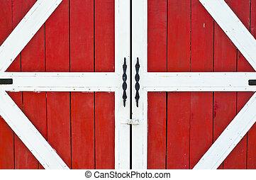 Red farm door.