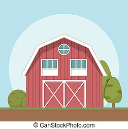 Red farm house, Vector illustration flat style