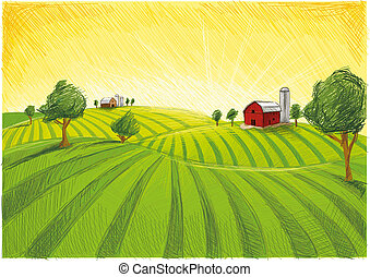 Red Farm Landscape - Digital created Farm with agriculture. ...