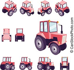 Red farm tractor, from different angles. Vehicle template vector isolated on white. View front, rear, side, top, isometric, back, 3D perspective, low poly flat style.