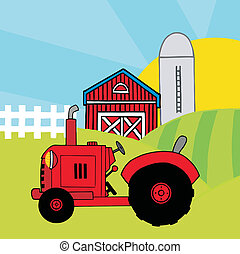 Red Farm Tractor In A Pasture - Vintage Red Tractor In Front...