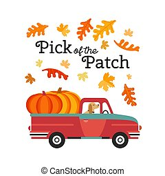 Red Farm truck with pumpkins flat color vector