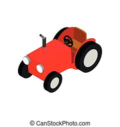 Red farmers car isometric 3d icon