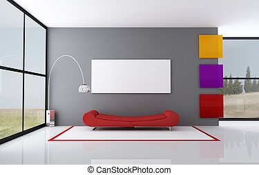 red fashion couch in a minimalist interior - rendering- the...