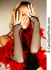 Red feathers - Blonde sexy young women wearing black ...