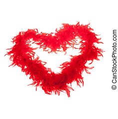red feathers-boas, heart shape, photo on the white ...