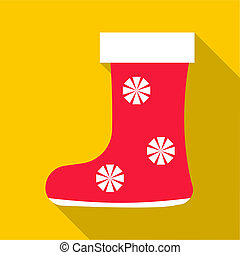 Red felt boots icon, flat style