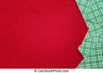 Red felt table with playing cards. Background
