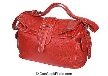 Red female handbag on a white background