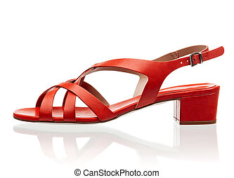 Red female sandal isolated over white