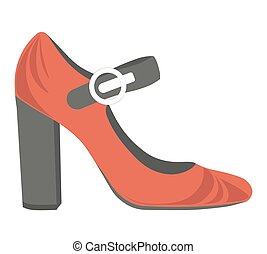 Red female shoes with thick heel and black strap - Red...