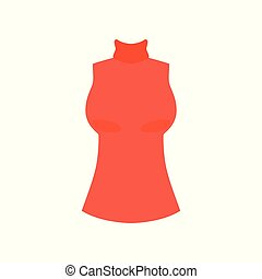 Red female top with high collar, fashion women clothes vector Illustration on a white background