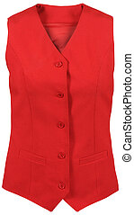 red female vest isolated on white background