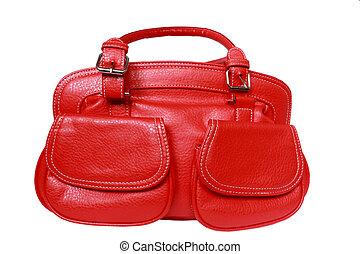red feminine bag