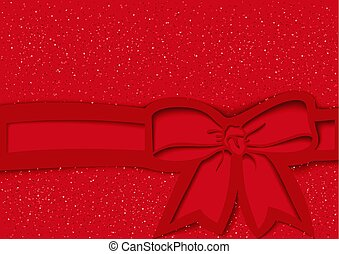 Red Festive Background with Bow and Ribbon