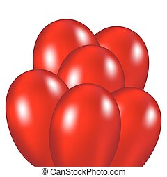 Red festive balloons vector illustration on a white...
