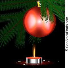 red festive candle - Christmas tree, small burning candle...