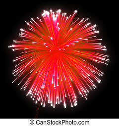 Red festive fireworks at night