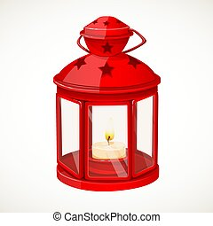 Red festive lantern with a candle inside isolated on white background