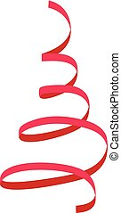 Red festive ribbon icon, flat style - Red festive ribbon...