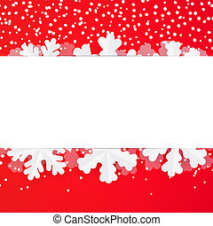 Red festive winter greeting card design template with paper snowflakes. Christmas and New Year background with copyspace and snowfall.